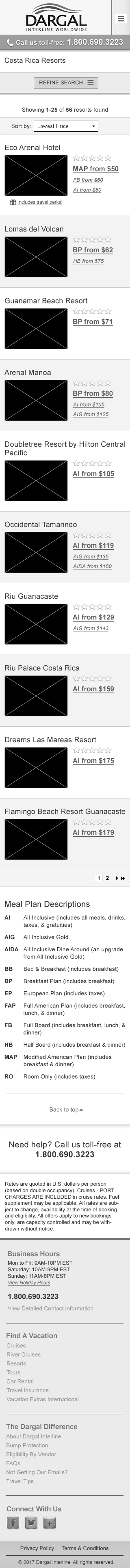 UX Design - responsive Resort Search Results