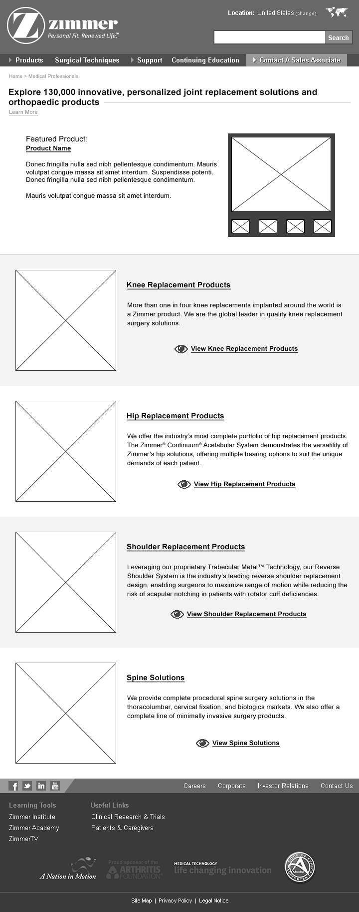 UX Design - mobile responsive product category listings