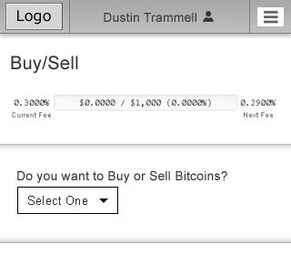 UX Design - mobile responsive financial trading - buy or sell bitcoins