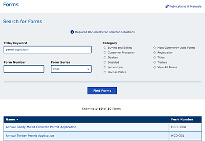 Web Design mockup - TxDMV search for Forms