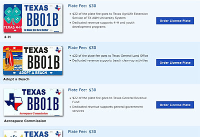 Web Design mockup - TxDMV Specialty License Plate search